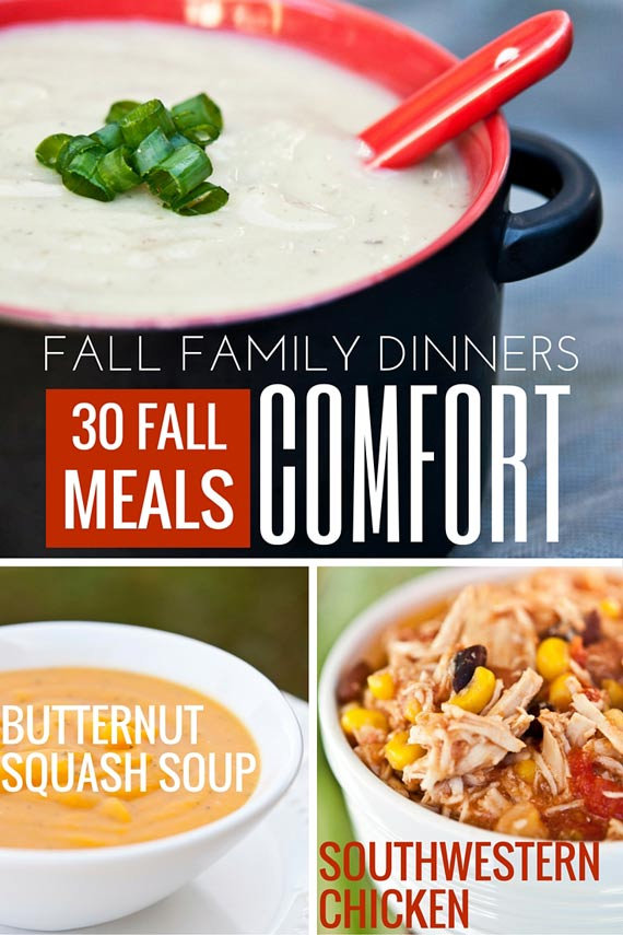 Three images of clean eating comfort food recipes from this list of 30 Clean Eating Fall Family Meals