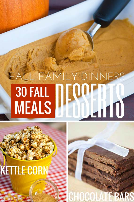 Three images of clean eating dessert recipes from this list of 30 Clean Eating Fall Family Meals