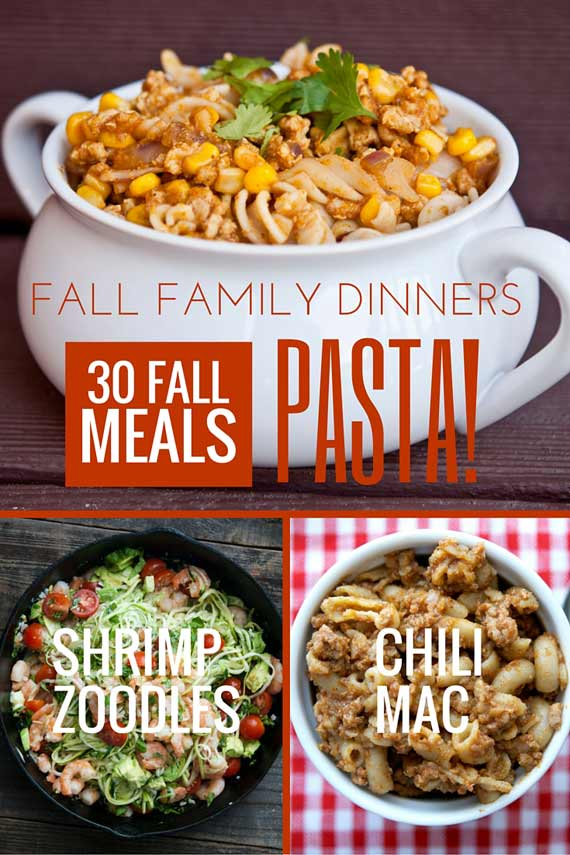 Three images of clean eating pasta recipes from this list of 30 Clean Eating Fall Family Meals