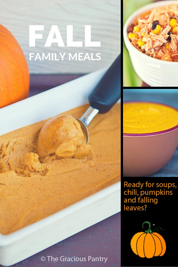 30 Clean Eating Fall Family Meals Pinterest graphic showing several different meals included in this list.