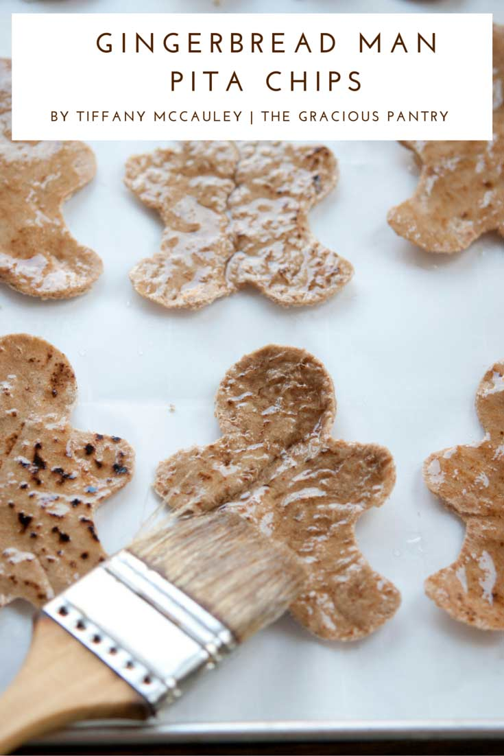 Step 7 shown for how to make these Clean Eating Holiday Gingerbread Man Pita Chips