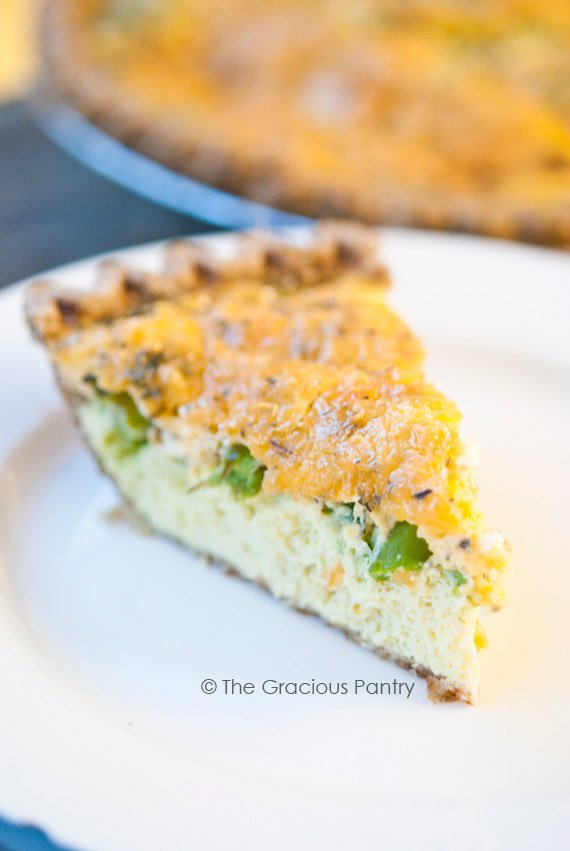 Clean Eating Cheddar Asparagus Quiche Recipe