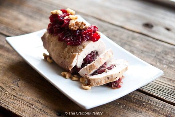 Clean Eating Cranberry Walnut Pesto Roulade Recipe
