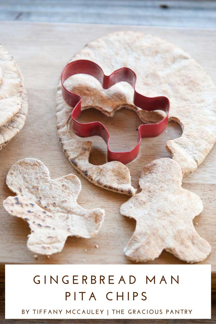 Step 3 shown for how to make these Clean Eating Holiday Gingerbread Man Pita Chips