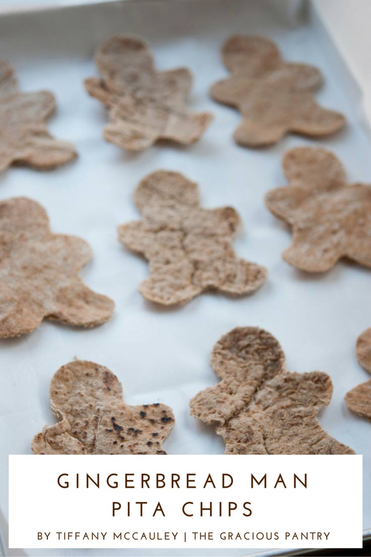 Step 5 shown for how to make these Clean Eating Holiday Gingerbread Man Pita Chips
