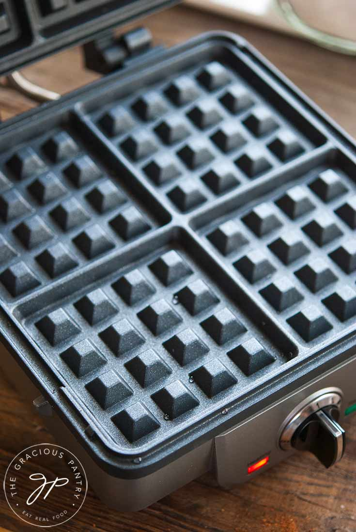 Warm your waffle iron.