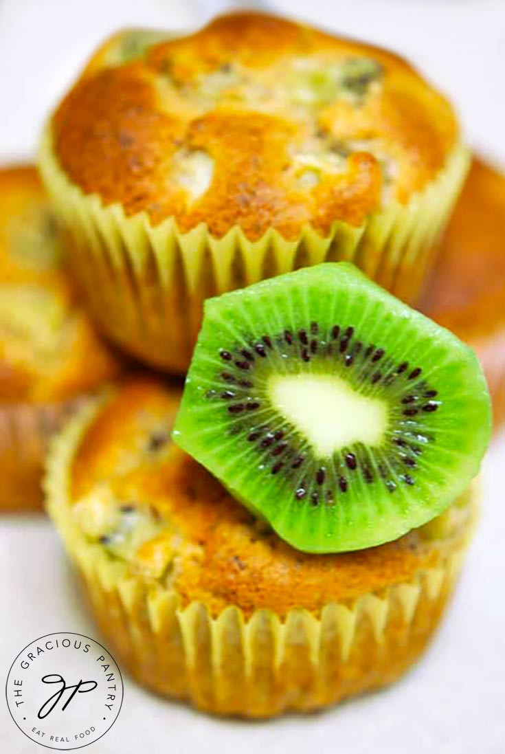 These clean eating kiwi muffins are a delicious snack or easy way to make your lunch bag or box more delicious!