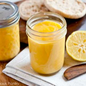 2 pint-sized canning jars of real food lemon curd