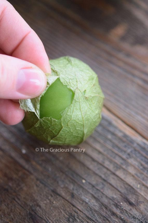 A single tomatillo having it's husk peeled away to show it's bright, shiny, green skin underneath.