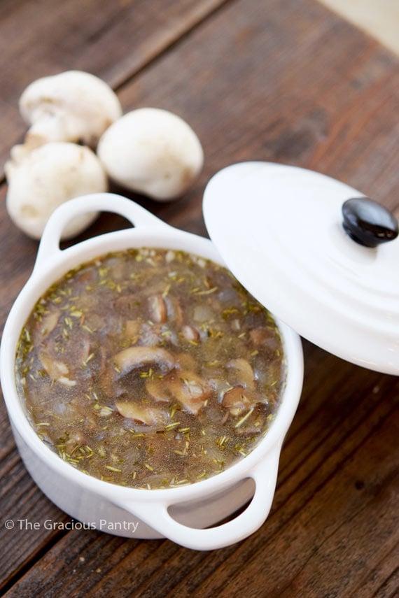 Clean Eating Bone Broth Mushroom Soup Recipe