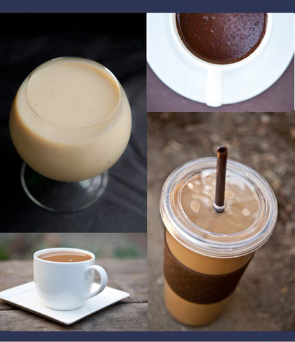 A collage of healthy drink recipe photos.