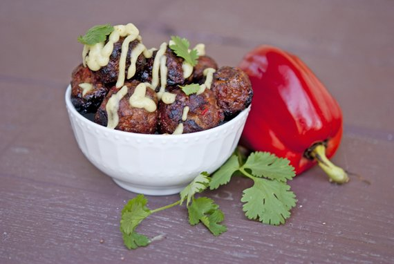 Clean Eating Barbecued Southwest Meatballs with Garlic & Lime Avocado Sauce Recipe