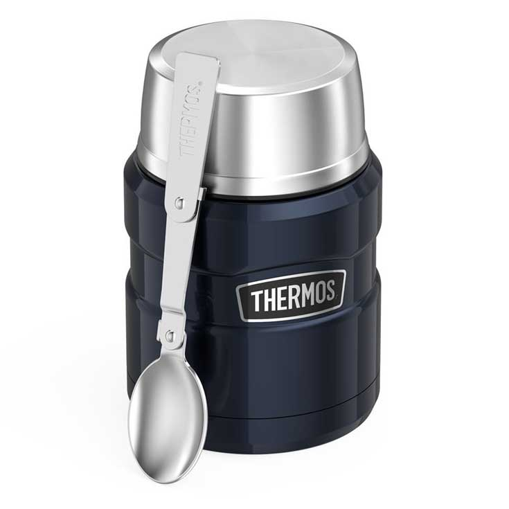 Image of a dark blue thermos with a silver lid that you can pack your 10 Clean Eating Thermos-Ready Lunch Recipes in.