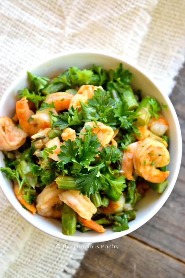 Clean Eating Shrimp And Asparagus Skillet Recipe Served