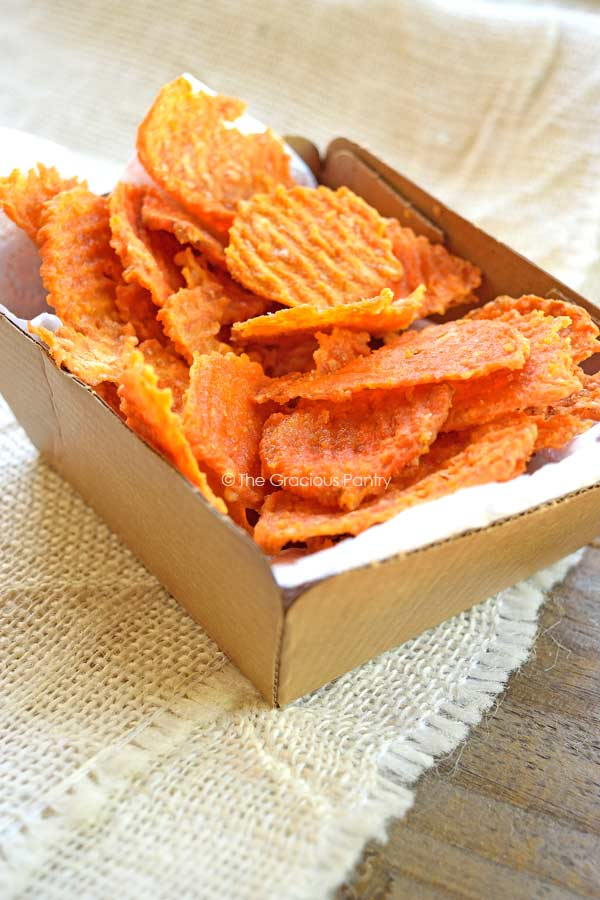 homemade baked sweet potato chips in cardboard serving tray