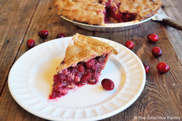 plated slice of cranberry pie made without refined sugar