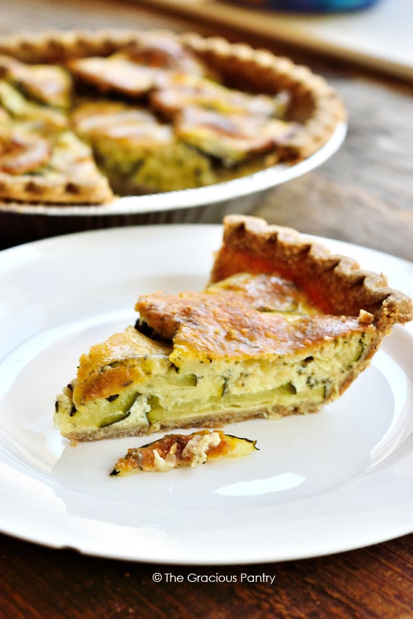 slice of Zucchini Pie on white plate