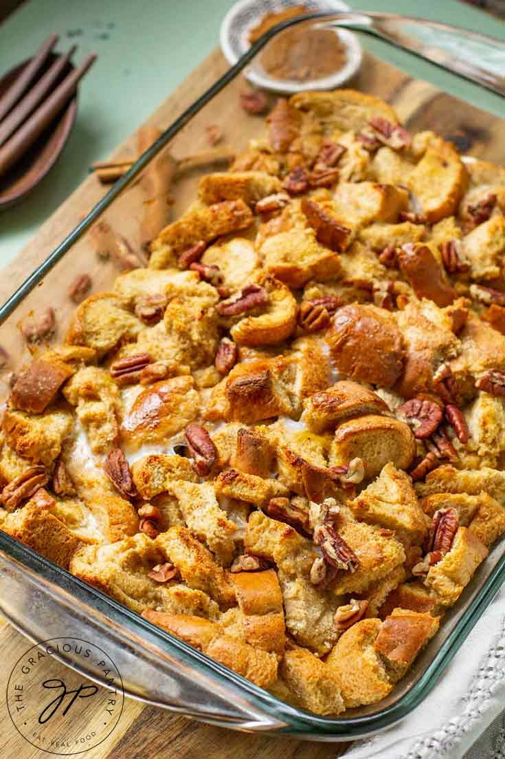 A freshly baked, Pumpkin Spice French Toast Casserole