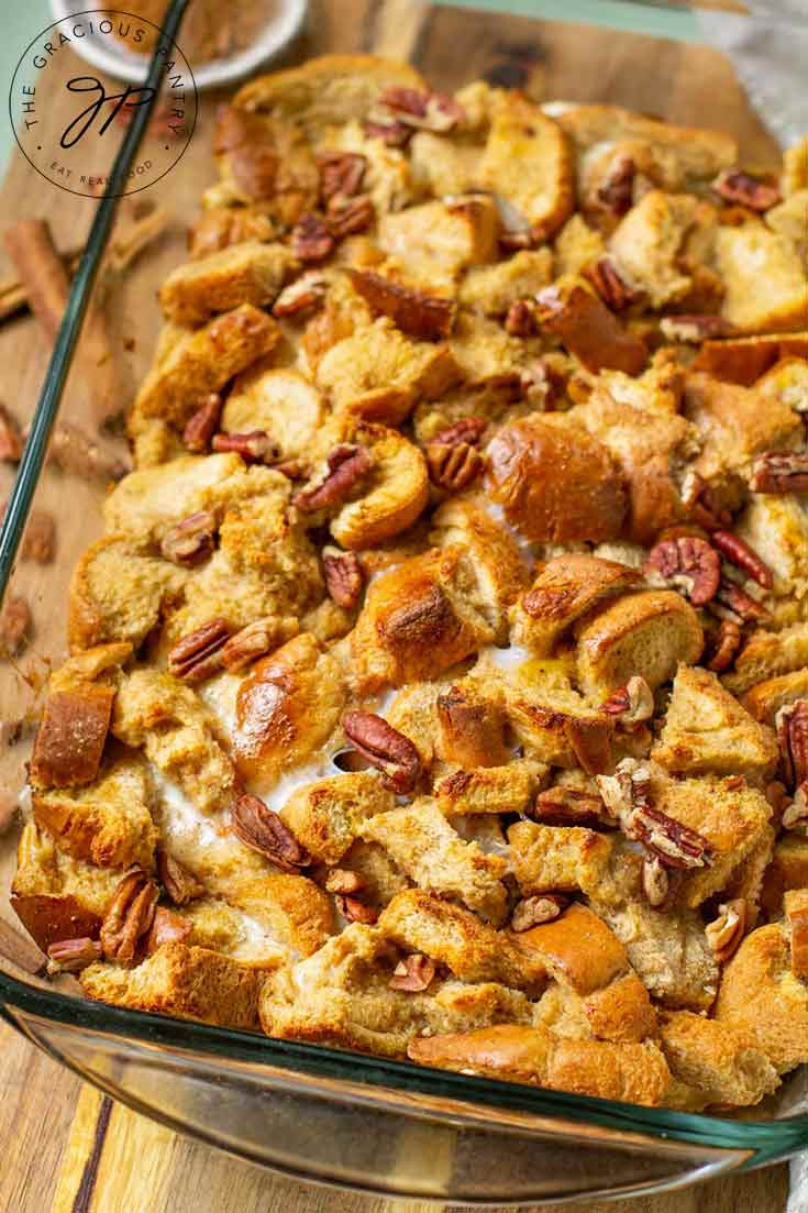 Golden brown crusted bread sits warm and inviting in it's just, baked casserole dish, ready to serve.