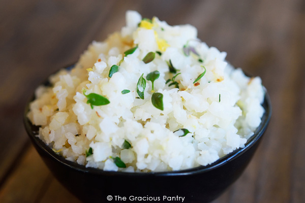 Clean Eating Lemon Thyme Cauliflower Rice Recipe In A Bowl