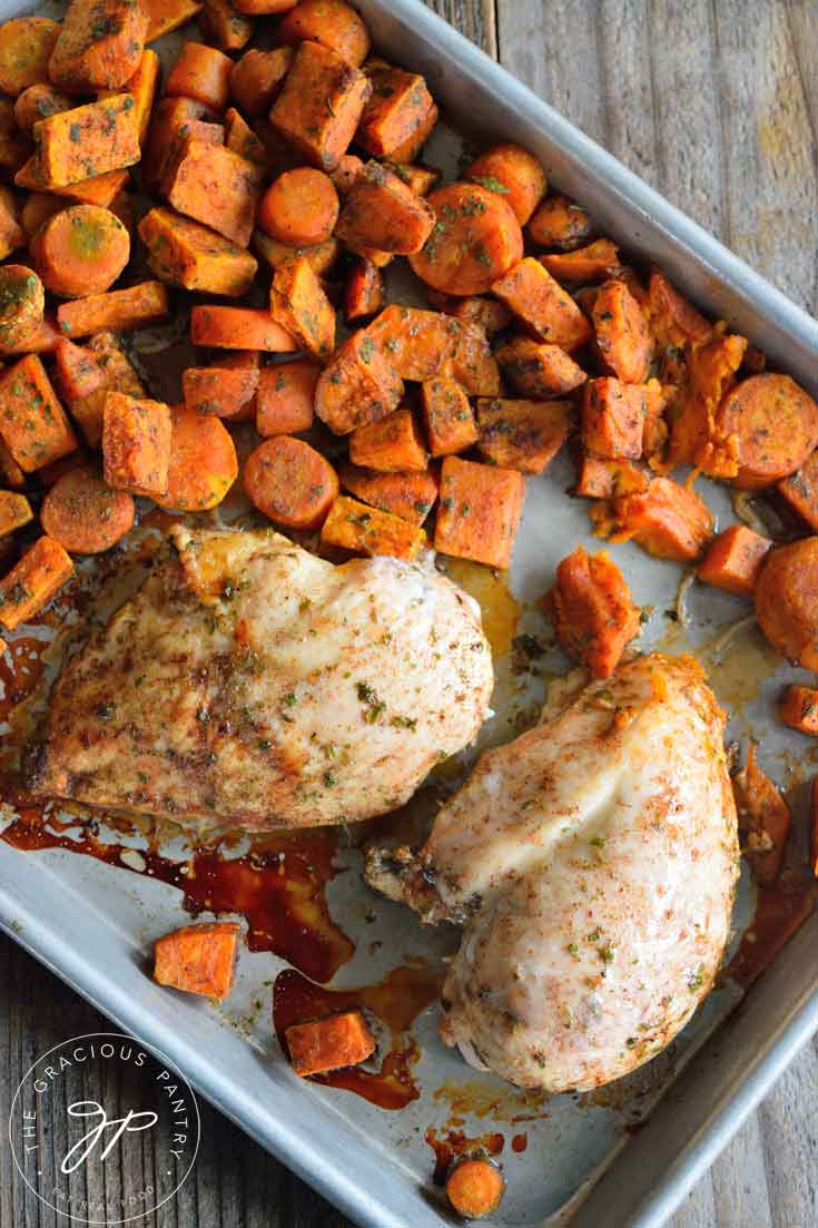 Clean Eating Cinnamon Carrots And Chicken Sheet Pan Dinner Recipe