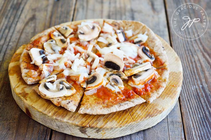Clean Eating Mushroom Onion And Swiss Pita Pizza Recipe