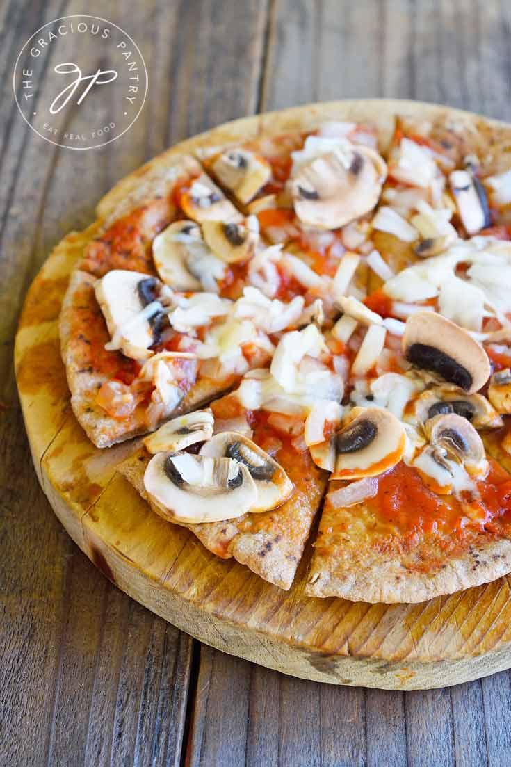 Clean Eating Mushroom Onion And Swiss Pita Pizza Recipe