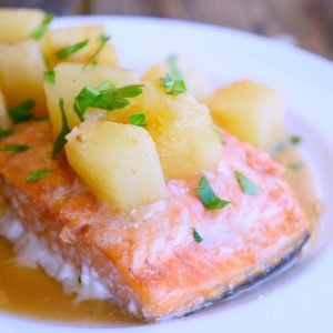 Clean Eating Sheet Pan Hawaiian Salmon Recipe