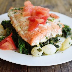 Clean Eating Baked Salmon Florentine Recipe