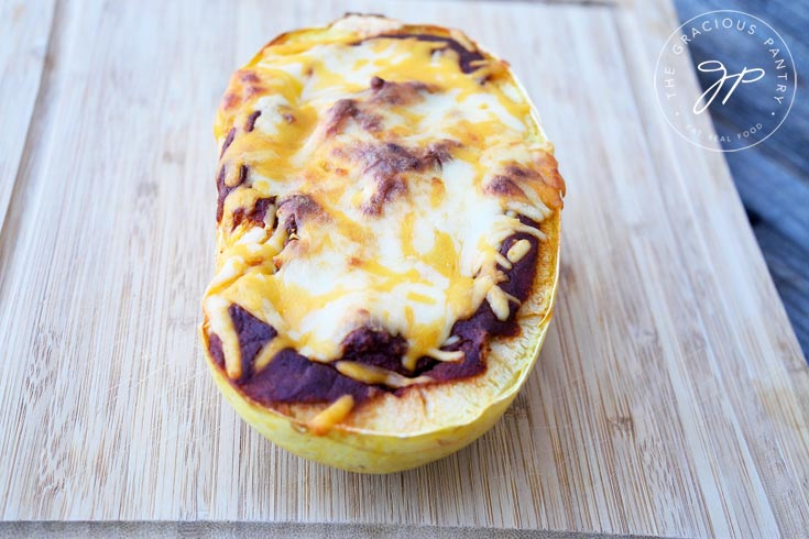 Clean Eating Chicken Enchilada Spaghetti Squash Recipe Out Of The Oven
