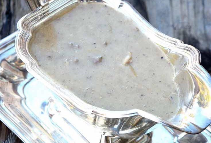 giblet gravy in silver gravy boat