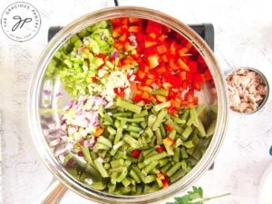 The vegetables sautéing in a skillet for this No Noodle Tuna Casserole Recipe