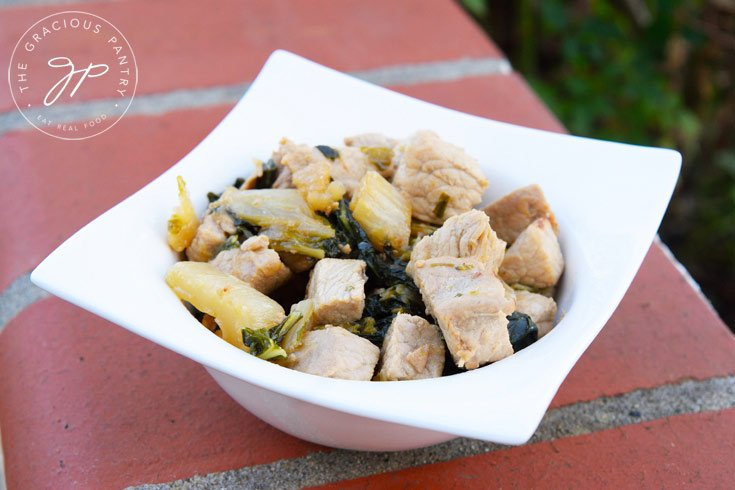 Clean Eating Asian Style Pork Bok Choy served in a bowl and ready to eat