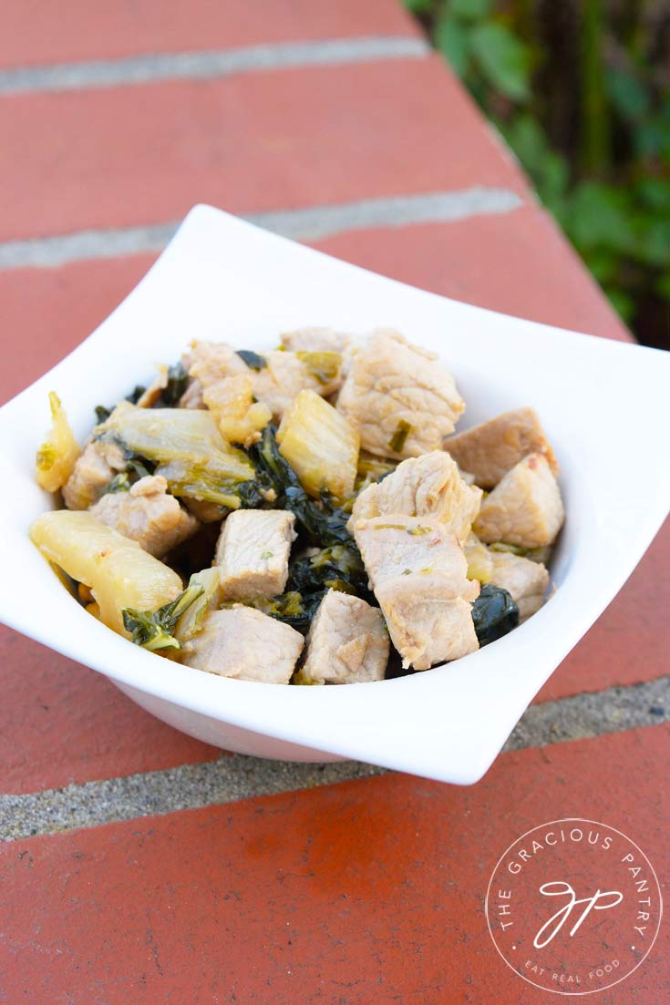Another view of this bowl of Clean Eating Asian Style Pork Bok Choy