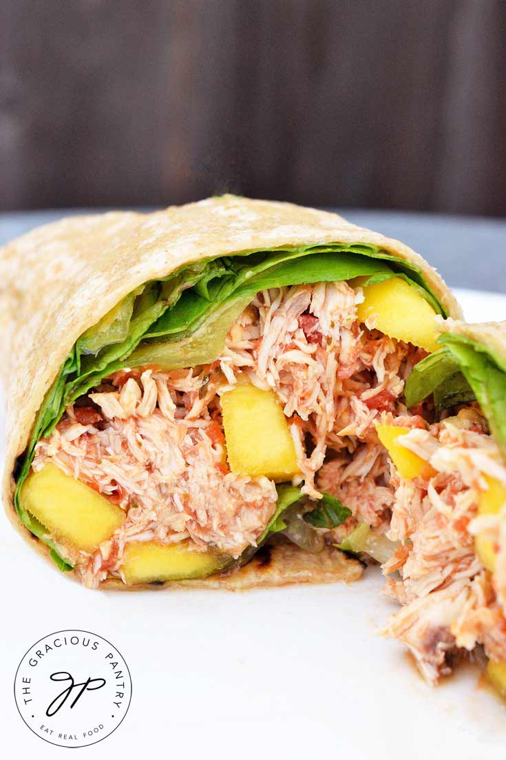 And up close shot of this yummy Clean Eating Mango Chicken Wraps recipe