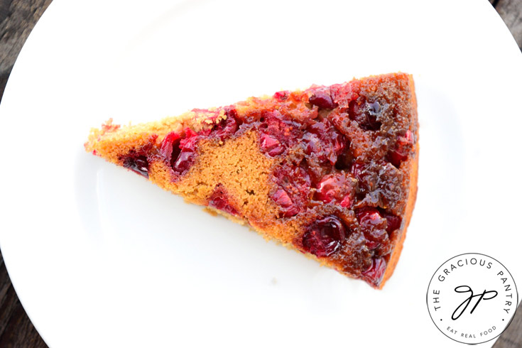 Clean Eating Skillet Cranberry Upside Down Cake Recipe Sliced