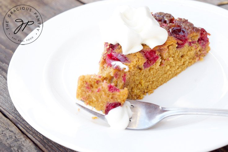Clean Eating Skillet Cranberry Upside Down Cake Recipe Served