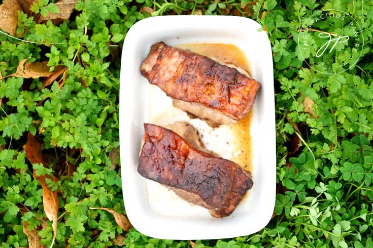 Clean Eating Asian Style Pork Chops shown from overhead looking down onto their nicely browned tops.