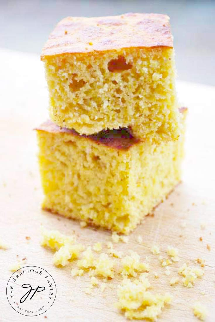 2 stacked pieces of fluffy, moist homemade cornbread made with real food ingredients, including Greek yogurt in this collection of Greek Yogurt Recipes.