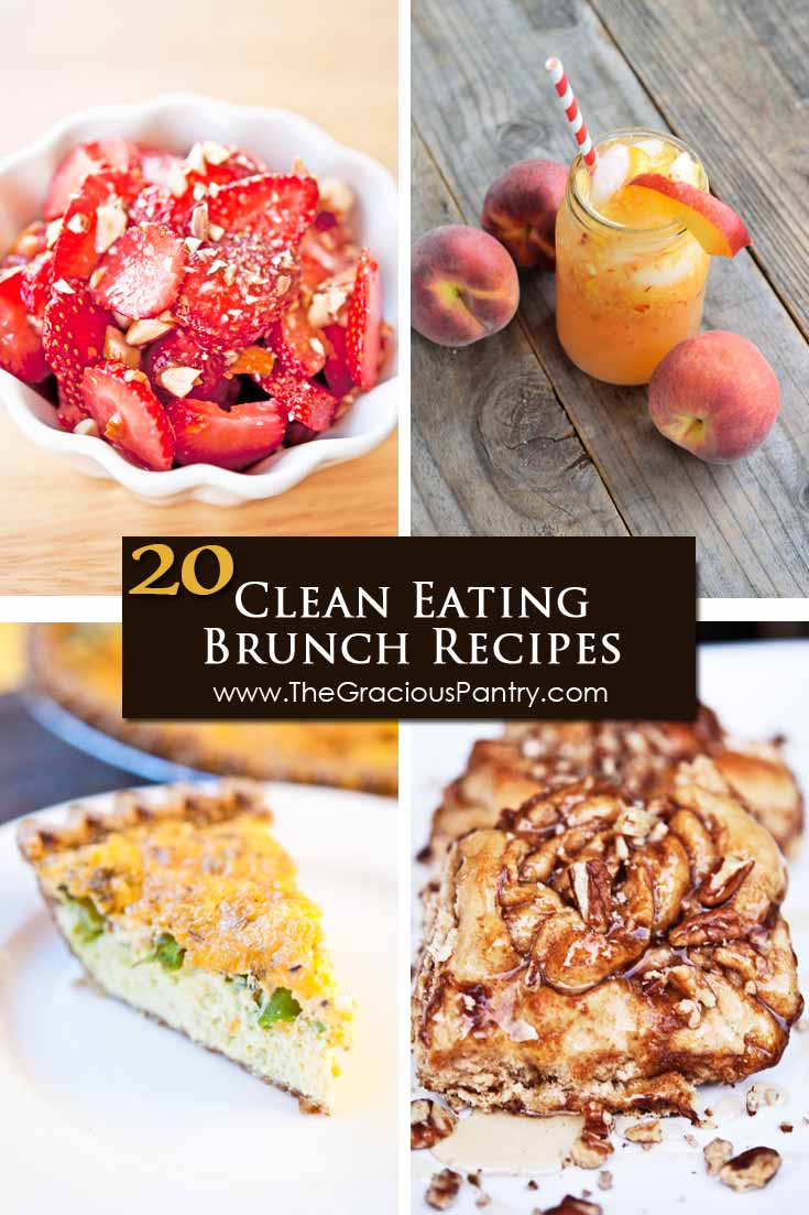 A collage of 4 of 20 Clean Eating Spring Brunch Recipes. The collage shows a peach lemonade, cinnamon buns, maple strawberry salad and a slice of cheddar broccoli quiche.