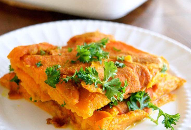 Clean Eating Layered Sweet Potato Casserole Recipe