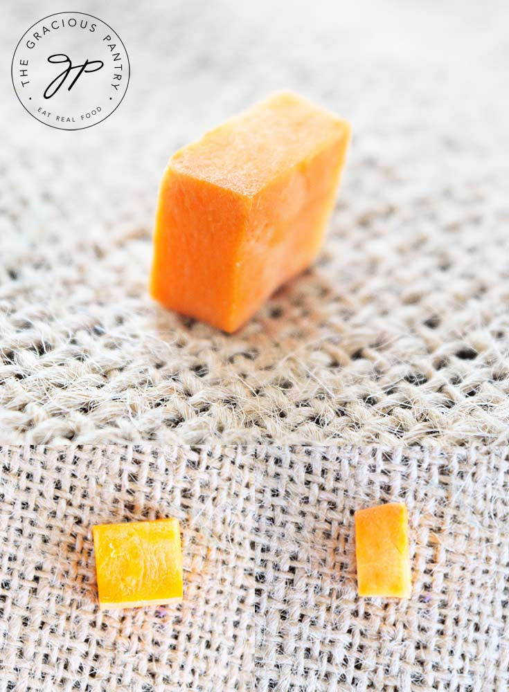 This image collage shows three different angles of the cut used on the sweet potatoes in this recipe for Clean Eating Sweet Potatoes O' Brien.