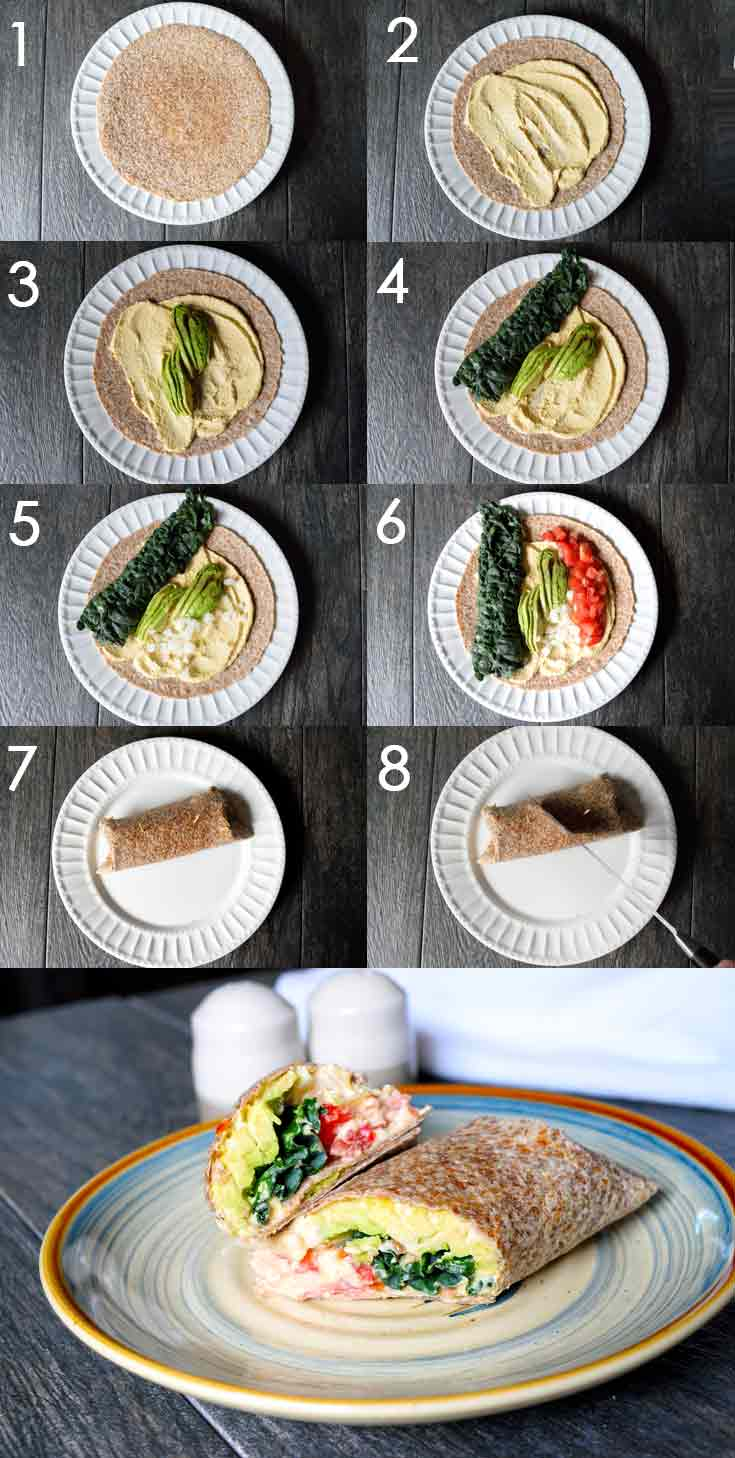 A collage showing the steps of this Clean Eating Kale And Hummus Wrap recipe coming together, one step at a time.