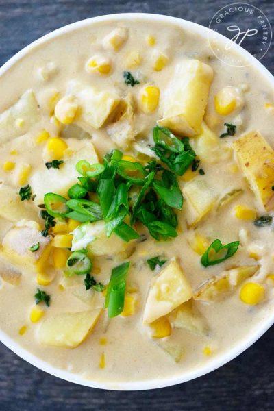 Clean Eating Instant Pot Potato Corn Chowder Recipe