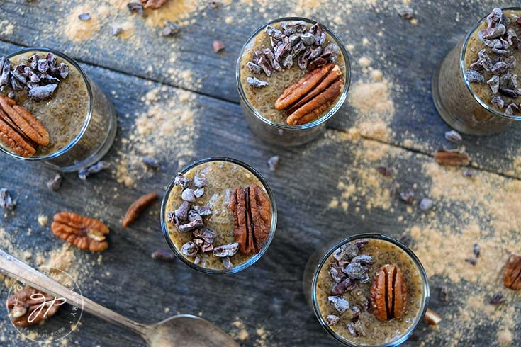 An overhead shot of these Clean Eating Maca Chia Seed Pudding shooters.