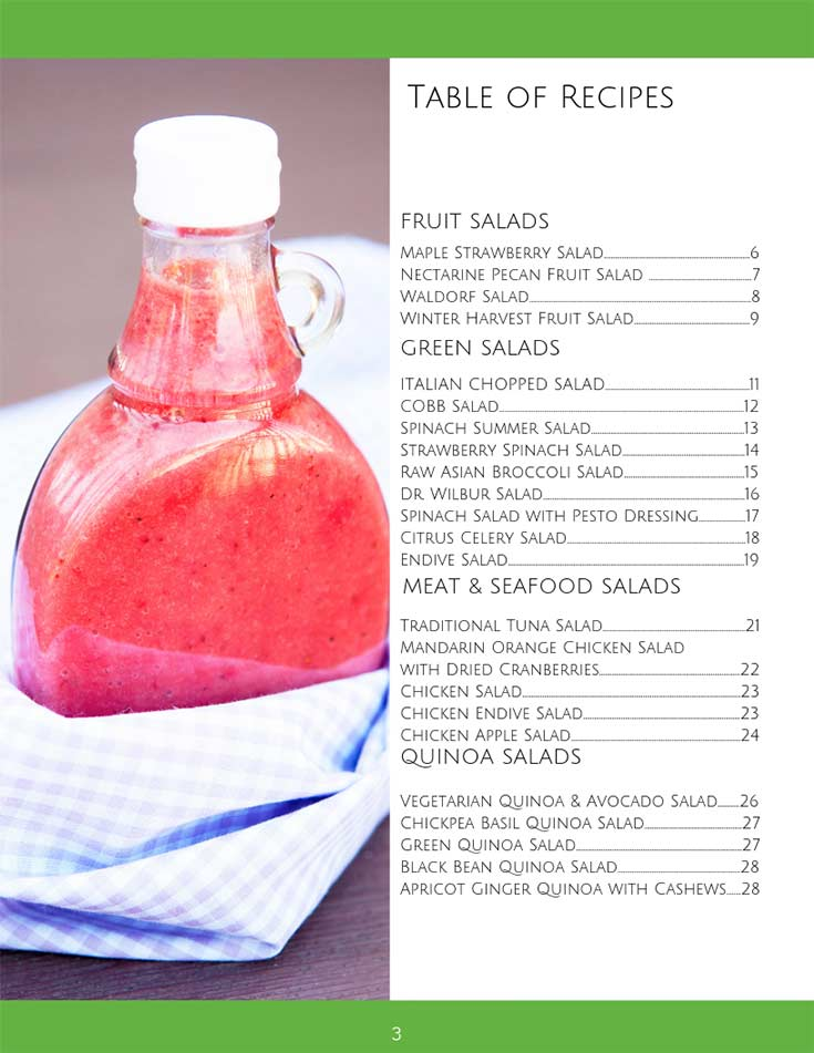 Page one of the table of contents in this Clean Eating Salads eCookbook