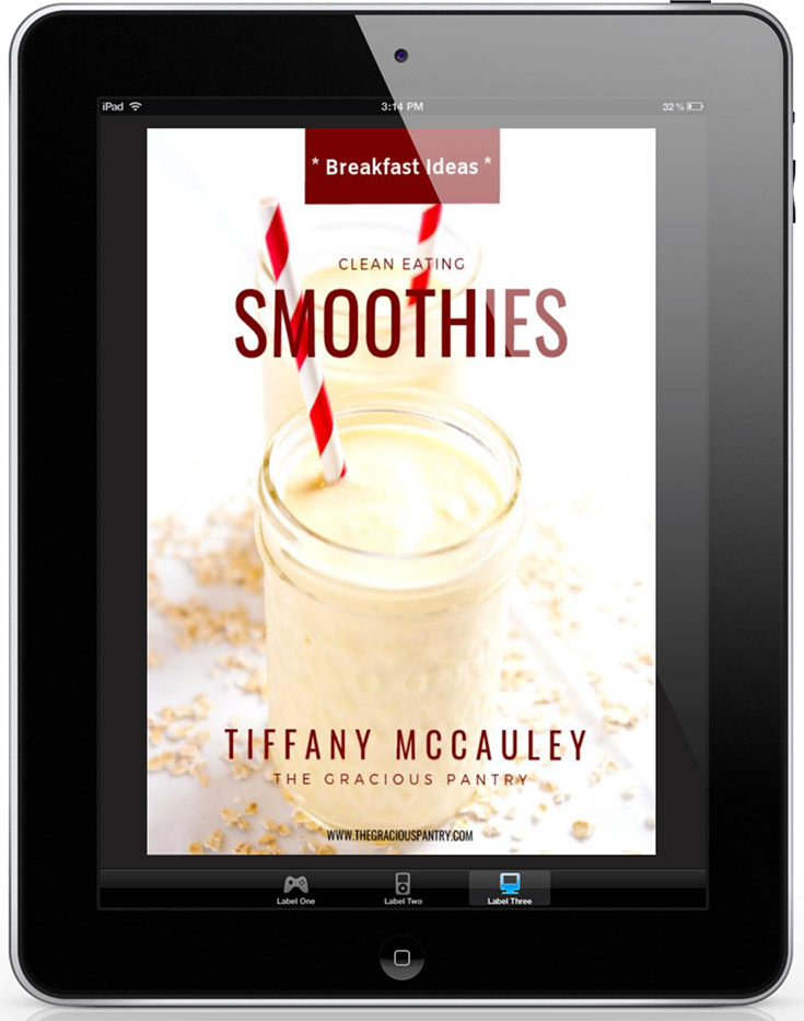 The cover of this Clean Eating Smoothies eCookbook shown on an iPad.