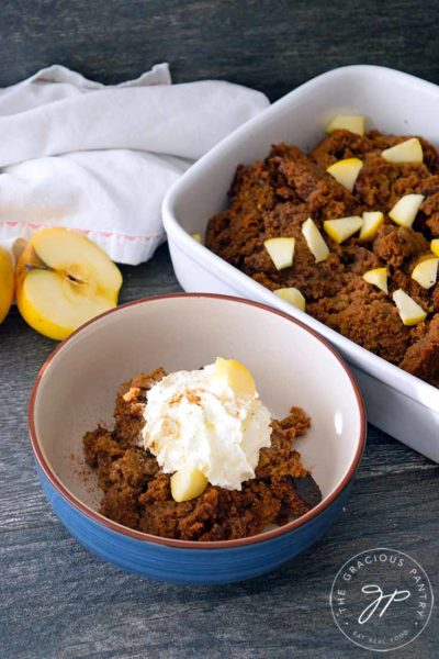 Clean Eating Twice Baked Apple Bread Pudding Recipe