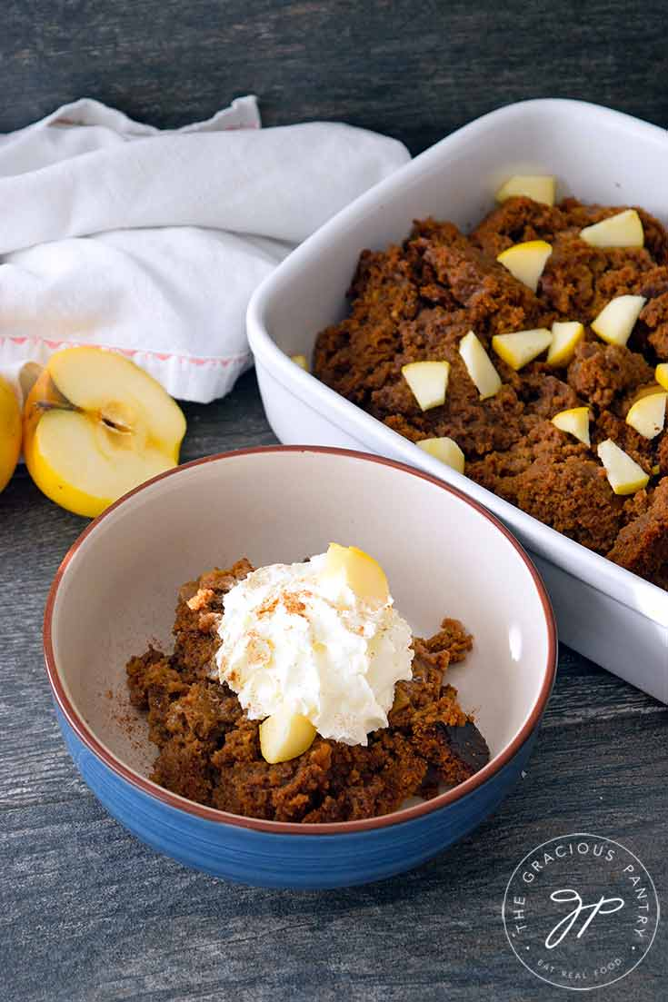 Clean Eating Bread Pudding Recipe made with apple bread.