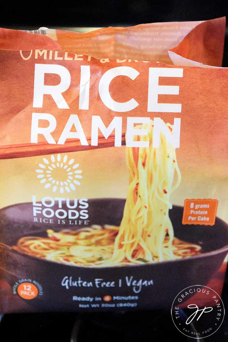 An up close view of the package of ramen noodles, showing which noodles were used in this clean eating Thai ramen soup recipe.
